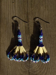 intiaanikorvakorut, indian porcupine quill earrings 005