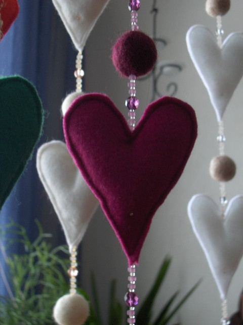 sydankoriste purppura+viininpun - heart decor. purple+wine red