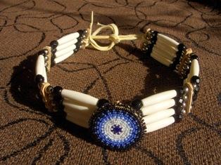 aito intiaanikoru - choker with blue rosette