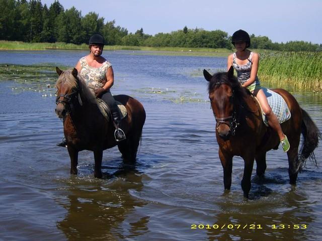 Viira & Pirkko ja Arska & Jaana kahlailemassa meressä