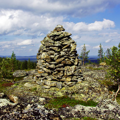 Kivipyykki eteläisessä Paalupäässä Inaria jakaneella Täyssinän rauhan rajalla,VVV