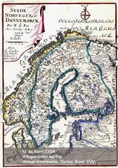 N.de Ferrin Pohjolan kartta v:lta 1704